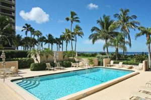 Gulfside Condominiums view of the pool and beach