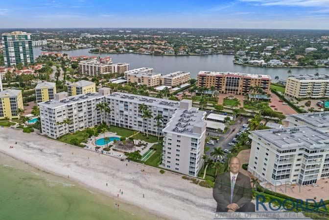 Aerial of Naples Continental seaside condominiums