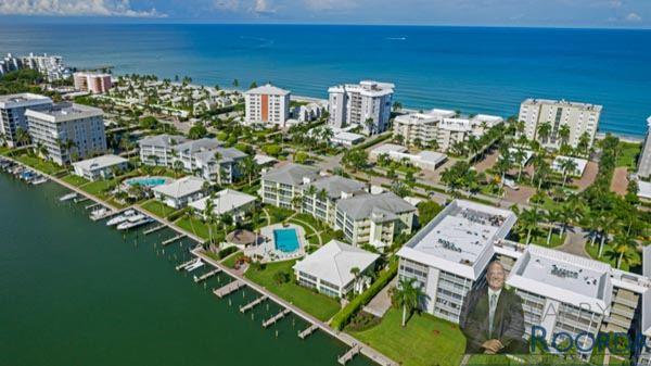 Jennifer Shores #105 Waterfront Condominium for sale in Naples, FL, aerial view